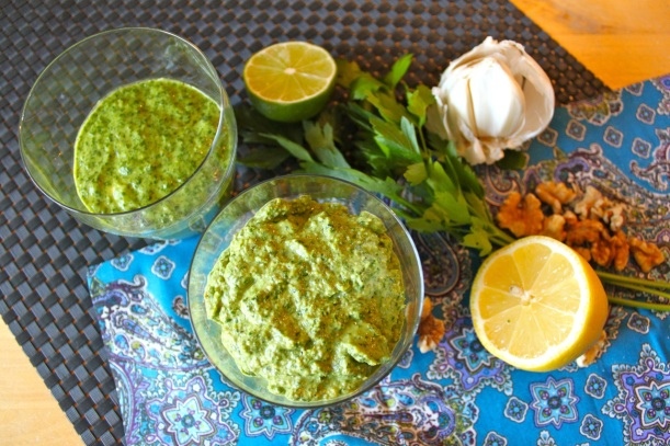 herb pesto, two ways