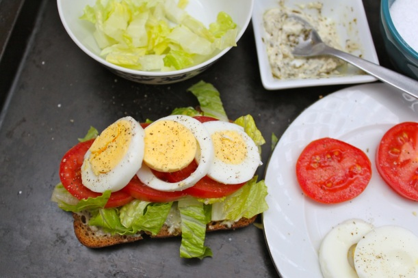 egg, lettuce & tomato open face sandwich | two coast kitchen